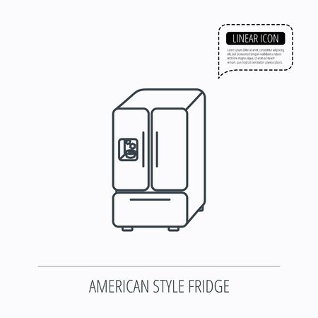 frig: American fridge icon. Refrigerator with ice sign. Linear outline icon. Speech bubble of dotted line. Vector