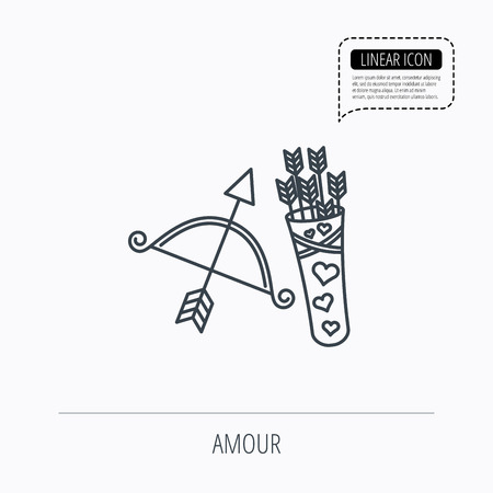bowstring: Amour arrows and bow icon. Valentine weapon sign. Linear outline icon. Speech bubble of dotted line. Vector
