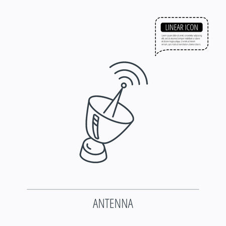 sputnik: Antenna icon. Sputnik satellite sign. Radio signal symbol. Linear outline icon. Speech bubble of dotted line. Vector