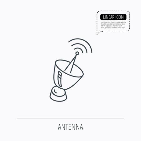 Antennensymbol. Sputnik-Satelliten-Zeichen. Funksignalsymbol. Linear ...