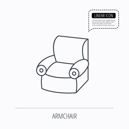 comfortable: Armchair icon. Comfortable furniture sign. Linear outline icon. Speech bubble of dotted line. Vector