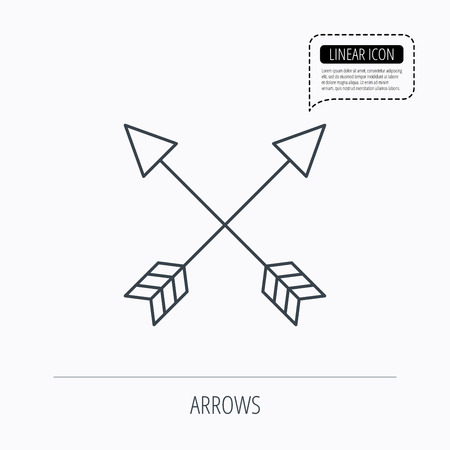 longbow: Bow arrows icon. Hunting sport equipment sign. Archer weapon symbol. Linear outline icon. Speech bubble of dotted line. Vector