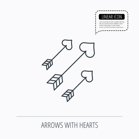 darts flying: Love arrows icon. Amour equipment sign. Archer weapon with hearts symbol. Linear outline icon. Speech bubble of dotted line. Vector