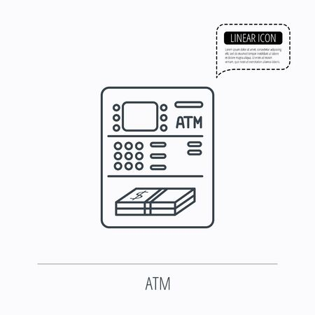 withdrawal: ATM icon. Automatic cash withdrawal sign. Linear outline icon. Speech bubble of dotted line. Vector