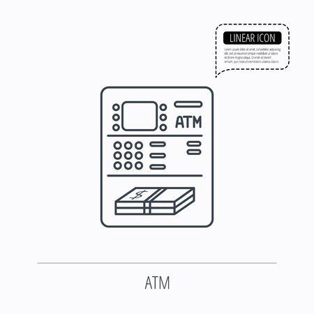 automatic transaction machine: Icono ATM. Signo autom�tico de retirada de efectivo. Icono esquema lineal. Burbuja del discurso de la l�nea de puntos. Vector