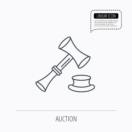 sentencing: Auction hammer icon. Justice and law sign. Linear outline icon. Speech bubble of dotted line. Vector