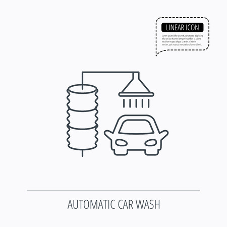 carwash: Automatic carwash icon. Cleaning station sign. Linear outline icon. Speech bubble of dotted line. Vector Illustration