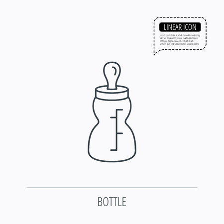 nursing bottle: Baby feeding bottle icon. Drink glass with pacifier sign. Child food symbol. Linear outline icon. Speech bubble of dotted line. Vector