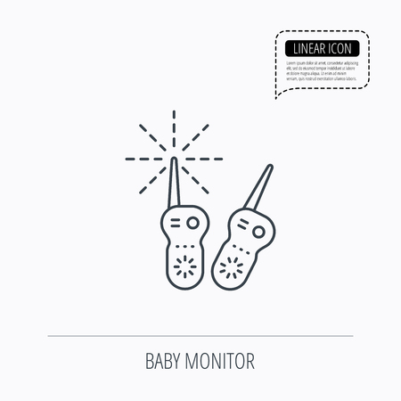 nanny: Baby monitor icon. Nanny for newborn sign. Radio set symbol. Linear outline icon. Speech bubble of dotted line. Vector Illustration