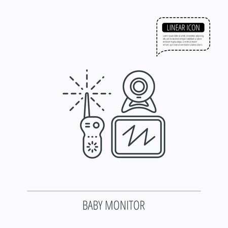 nanny: Baby monitor icon. Video nanny for newborn sign. Radio set with camera and tv symbol. Linear outline icon. Speech bubble of dotted line. Vector