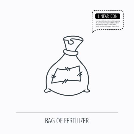 phosphate: Bag with fertilizer icon. Fertilization sack sign. Farming or agriculture symbol. Linear outline icon. Speech bubble of dotted line. Vector