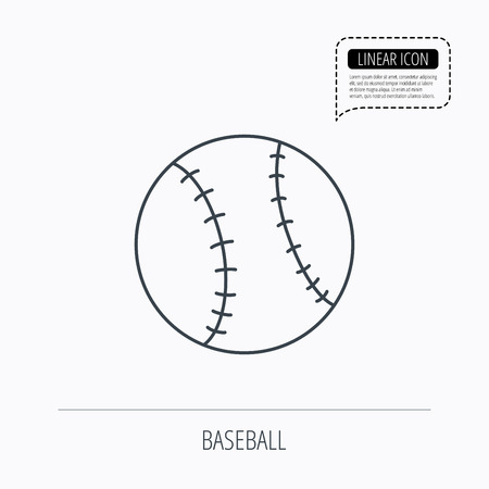 team game: Baseball equipment icon. Sport ball sign. Team game symbol. Linear outline icon. Speech bubble of dotted line. Vector