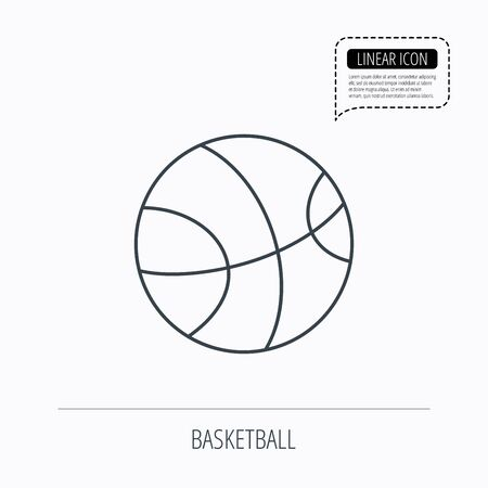 team game: Basketball equipment icon. Sport ball sign. Team game symbol. Linear outline icon. Speech bubble of dotted line. Vector