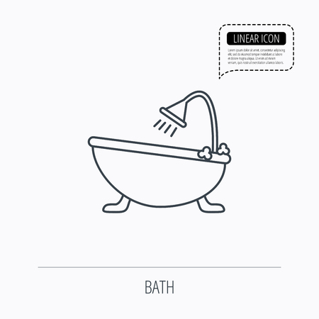 hot tub: Bathroom icon. Bath with shower sign. Linear outline icon. Speech bubble of dotted line. Vector Illustration