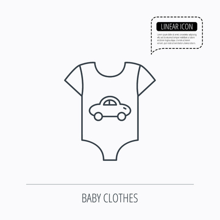 romper: Newborn clothes icon. Baby shirt wear sign. Car symbol. Linear outline icon. Speech bubble of dotted line. Vector Illustration