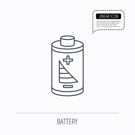rechargeable: Battery icon. Electrical power sign. Rechargeable energy symbol. Linear outline icon. Speech bubble of dotted line. Vector