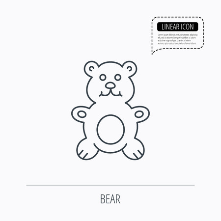 plush: Teddy-bear icon. Baby toy sign. Plush animal symbol. Linear outline icon. Speech bubble of dotted line. Vector Illustration