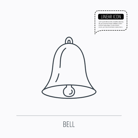 handbell: Bell icon. Sound sign. Alarm handbell symbol. Linear outline icon. Speech bubble of dotted line. Vector
