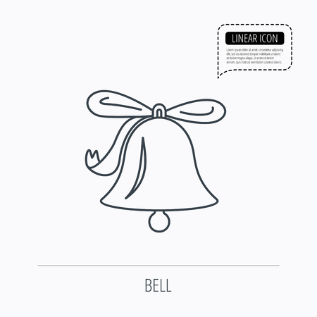 handbell: Ringing jingle bell icon. Sound sign. Alarm handbell symbol. Linear outline icon. Speech bubble of dotted line. Vector Illustration