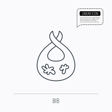 dinner wear: Bib with dirty spots icon. Baby clothes sign. Feeding wear symbol. Linear outline icon. Speech bubble of dotted line. Vector Illustration