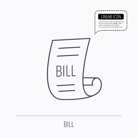 restaurant icons: Bill icon. Pay document sign. Business invoice or receipt symbol. Linear outline icon. Speech bubble of dotted line. Vector Illustration