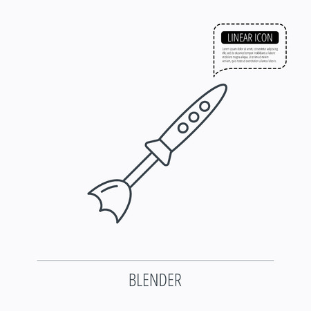 stirrer: Blender icon. Mixer sign. Kitchen electric tool symbol. Linear outline icon. Speech bubble of dotted line. Vector