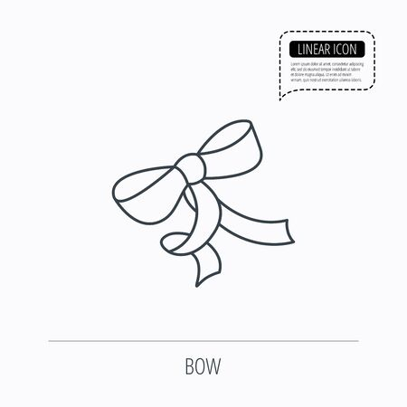 tied girl: Gift bow icon. Present decoration sign. Ribbon for packaging symbol. Linear outline icon. Speech bubble of dotted line. Vector