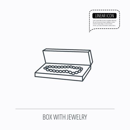 jewelry box: Jewelry box icon. Luxury precious sign. Linear outline icon. Speech bubble of dotted line. Vector