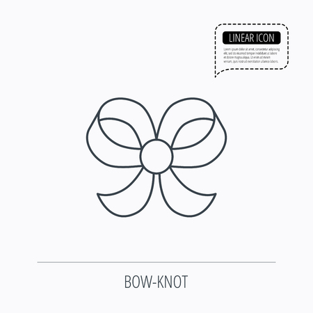bowknot: Bow icon. Gift bow-knot sign. Linear outline icon. Speech bubble of dotted line. Vector Illustration