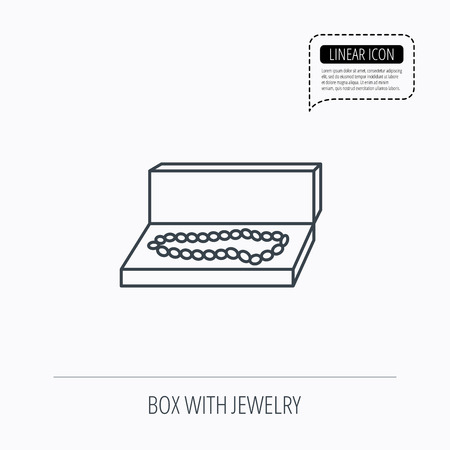 jewellery box: Jewellery box icon. Luxury precious sign. Linear outline icon. Speech bubble of dotted line. Vector