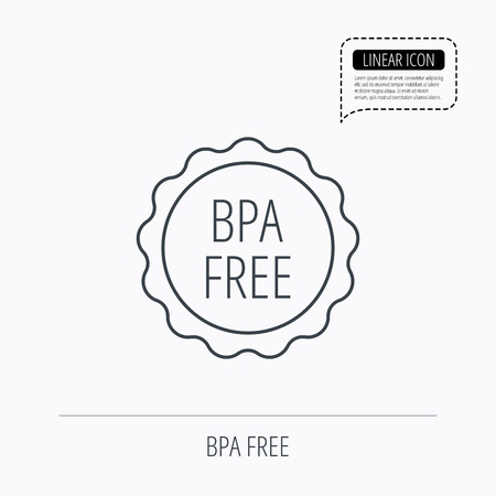 phthalates: BPA free icon. Bisphenol plastic sign. Linear outline icon. Speech bubble of dotted line. Vector
