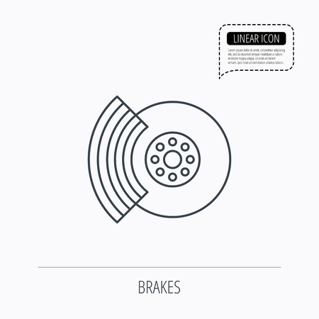 overhaul: Brakes icon. Auto disk repair sign. Linear outline icon. Speech bubble of dotted line. Vector Vettoriali