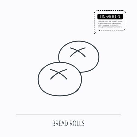 Bread rolls or buns icon. Natural food sign. Bakery symbol. Linear outline icon. Speech bubble of dotted line. Vector