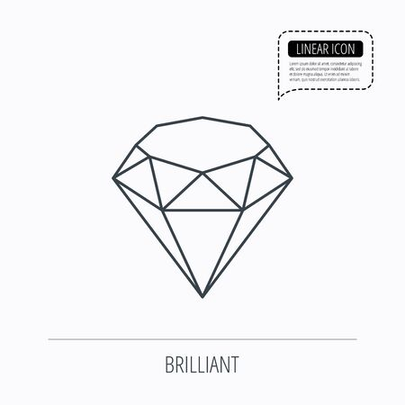 gemstone: Brilliant icon. Diamond gemstone sign. Linear outline icon. Speech bubble of dotted line. Vector Illustration