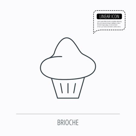 enriched: Brioche icon. Bread bun sign. Bakery symbol. Linear outline icon. Speech bubble of dotted line. Vector Illustration