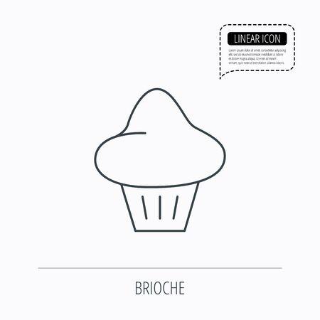 Brioche icon. Bread bun sign. Bakery symbol. Linear outline icon. Speech bubble of dotted line. Vector Illustration