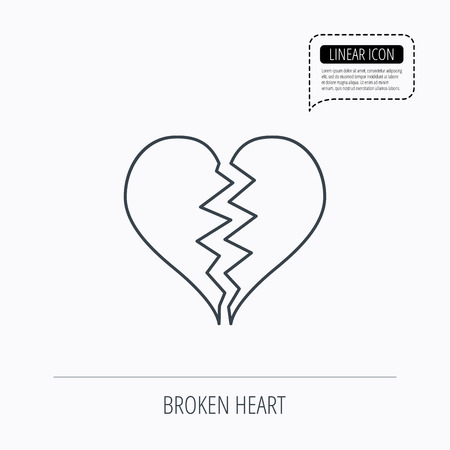 love icon: Broken heart icon. Divorce sign. End of love symbol. Linear outline icon. Speech bubble of dotted line. Vector