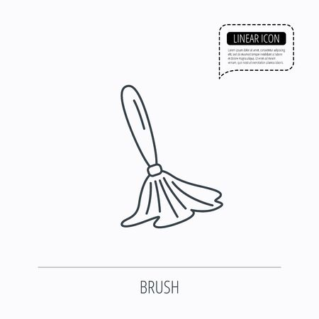 renovate: Brush icon. Paintbrush tool sign. Artist instrument symbol. Linear outline icon. Speech bubble of dotted line. Vector Illustration