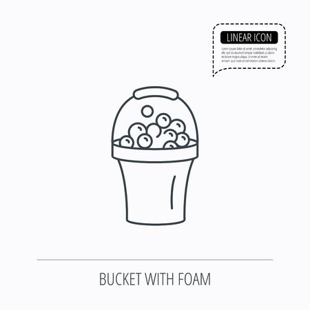 soapy: Bucket with foam icon. Soapy cleaning sign. Linear outline icon. Speech bubble of dotted line. Vector