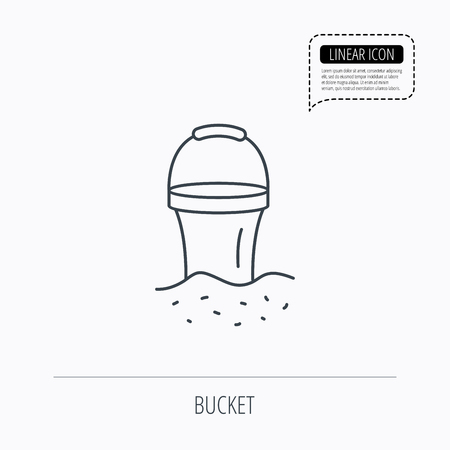 beach game: Bucket in sand icon. Trash bin sign. Child beach game symbol. Linear outline icon. Speech bubble of dotted line. Vector Illustration