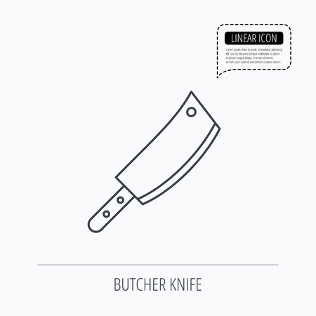 butcher knife: Butcher knife icon. Kitchen chef tool sign. Linear outline icon. Speech bubble of dotted line. Vector