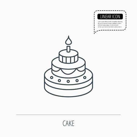 甘い食べ物: ケーキのアイコン。誕生日デザート記号。キャンドルのシンボルと甘い食べ物。線形の概要アイコン。点線の吹き出し。ベクトル
