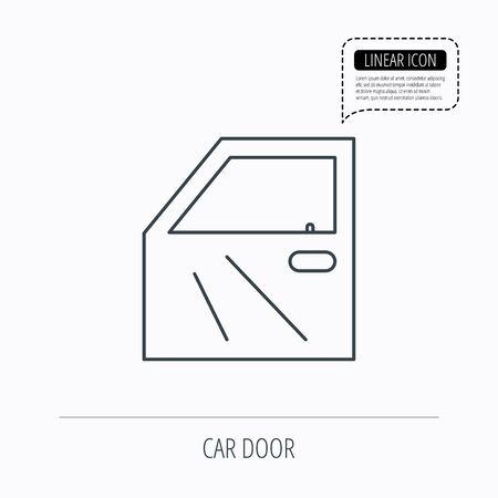 bodywork: Car door icon. Automobile lock sign. Linear outline icon. Speech bubble of dotted line. Vector