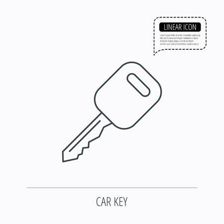 car lock: Car key icon. Transportat lock sign. Linear outline icon. Speech bubble of dotted line. Vector