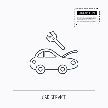 overhaul: Car service icon. Transport repair with wrench key sign. Linear outline icon. Speech bubble of dotted line. Vector