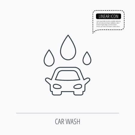 operated: Car wash icon. Cleaning station with water drops sign. Linear outline icon. Speech bubble of dotted line. Vector