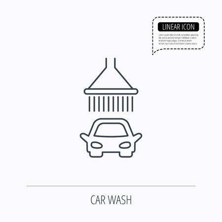 operated: Car wash icon. Cleaning station with shower sign. Linear outline icon. Speech bubble of dotted line. Vector