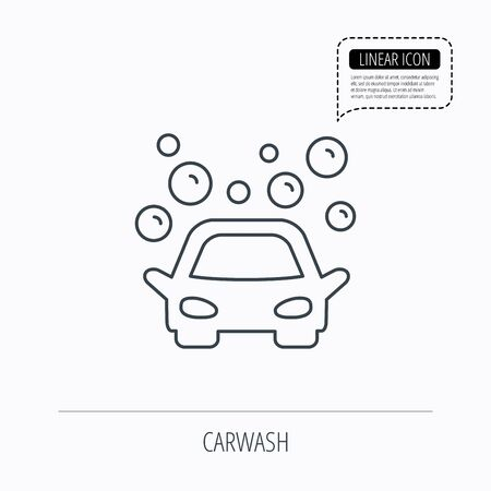 foam bubbles: Car wash icon. Cleaning station sign. Foam bubbles symbol. Linear outline icon. Speech bubble of dotted line. Vector