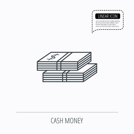 wads: Cash icon. Dollar money sign. USD currency symbol. 2 wads of money. Linear outline icon. Speech bubble of dotted line. Vector Illustration