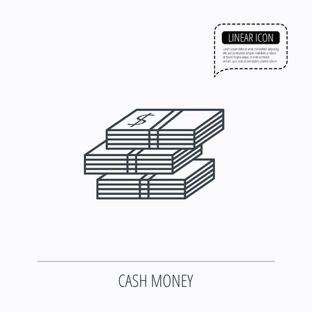 wads: Cash icon. Dollar money sign. USD currency symbol. 3 wads of money. Linear outline icon. Speech bubble of dotted line. Vector